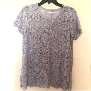 NWT Maurices Lavender Lace Top